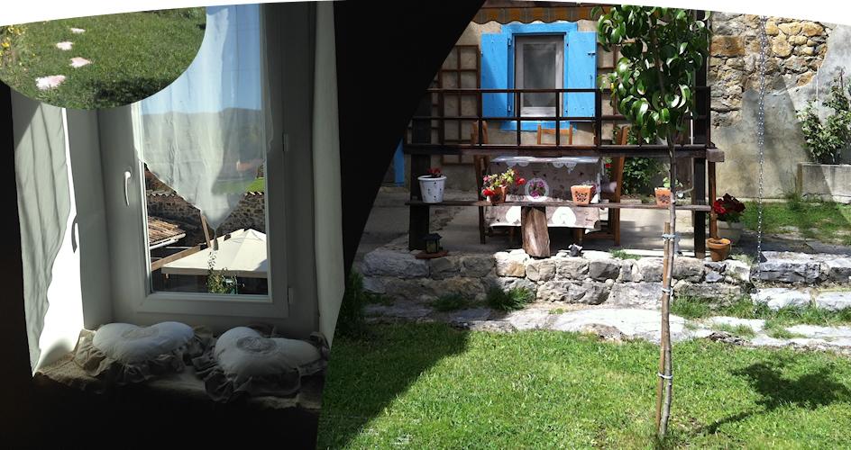 Location vacances maison Pereille: véranda